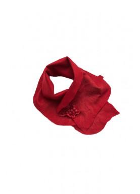 Esarfa si brosa din  lana impaslita , handmade, unicat, Rosu