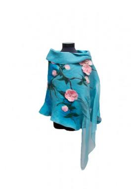 Sal si manusi din lana impaslita, handmade, unicat, Turcuoaz cu Flori Roz
