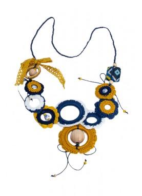Colier crosetat manual, unicat, handmade, Albastru-Mustar
