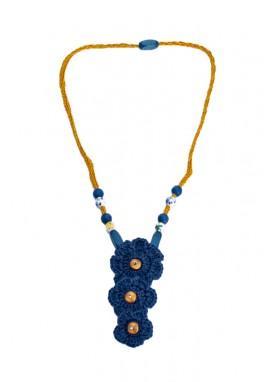 Colier crosetat manual ,  unicat, handmade, Albastru Trio