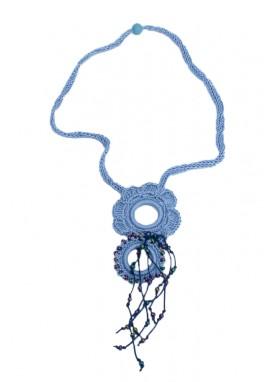 Colier crosetat manual, Tyana Accesorii, unicat, handmade, Bleu