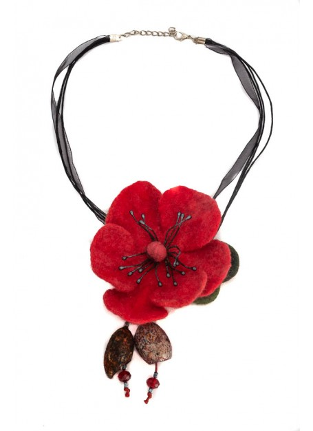Colier lana impaslita si coconi matase,unicat, handmade, floare mar, Rosu
