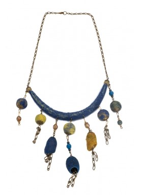 Colier margele lana impaslita si coconi matase,  unicat, handmade,   Albastru