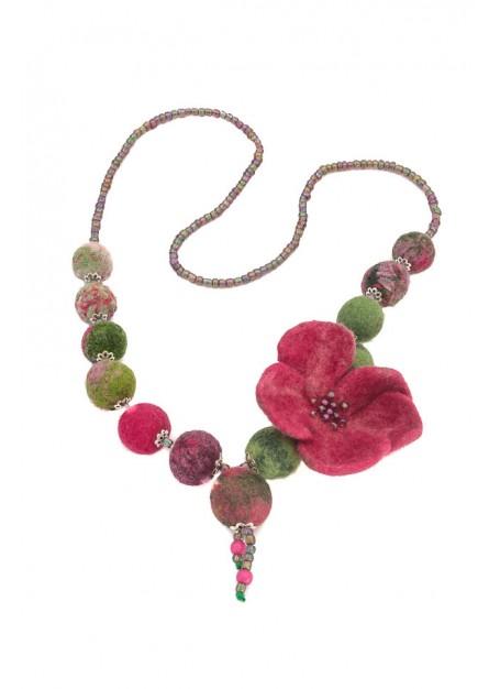 Colier lana impaslita,unicat, handmade, Floare  Ciclamen-Verde