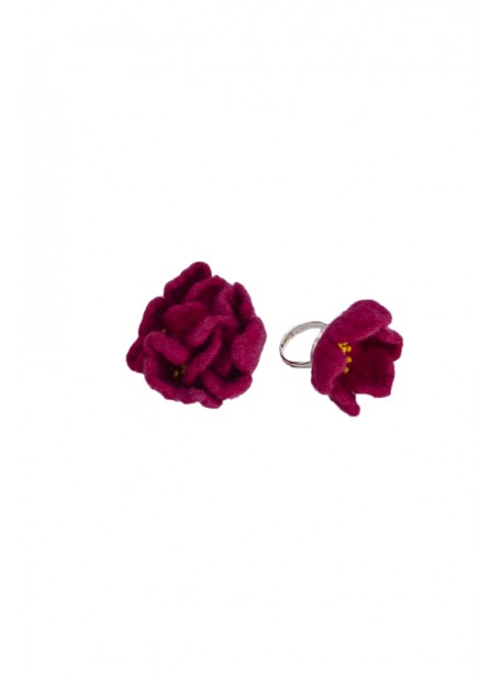 Set pandativ, inel si bratara ,lana impaslita, unicat, handmade, Ciclam- Verde