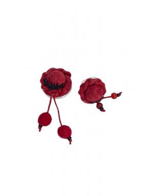 Set pandativ, inel si bratara ,lana impaslita,  unicat, handmade, Rosu