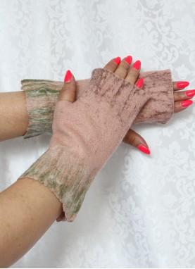 Manusi fara degete, din lana impaslita, handmade, unicat, Roz-Maro