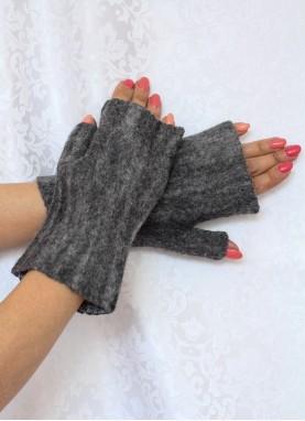 Manusi fara degete, din lana impaslita, handmade, unicat, Gri inchis
