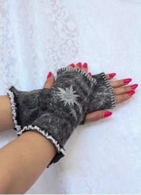 Manusi fara degete, din lana impaslita cu broderie , handmade, unicat, Gri cu broderie