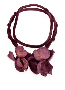 Colier / brau din lana impaslita, unicat, handmade, Irisii Mov