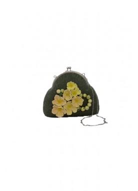 Geanta din lana impslita manual,handmade, unicat, Flori de Mar
