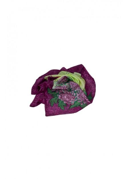 Batic 90 x 90, matase naturala, pictatat manual, handmade, unicat, Buchet de Crizanteme