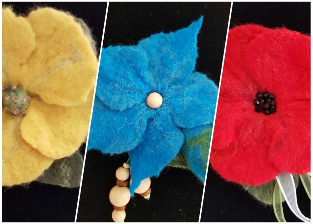 Brose si coliere din lana impaslita