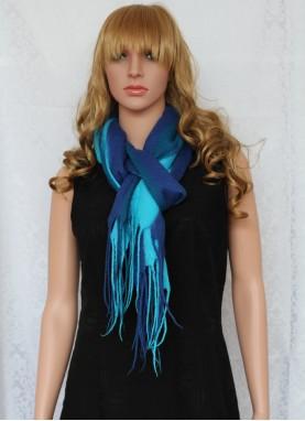 Esarfa din lana impaslita , handmade, unicat, Albastru