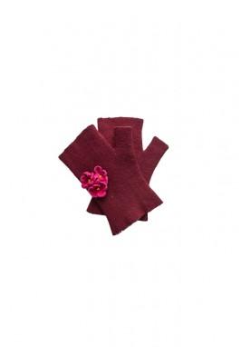 Manusi fara degete, handmade, din lana impaslita, unicat, Bordo cu flori ciclam